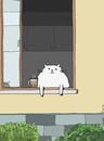 Cartoon: Cappuccino Cat (small) by fussel tagged cat,cappucciono,sommer,window