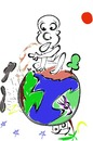 Cartoon: Smell of wet Earth (small) by Drao tagged wet,earth,children,planet,rain,cute,smell,sun,moon,cloud,thunder