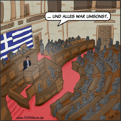 Cartoon: Der Tragödie nächster Teil (medium) by Fenya tagged griechenland,politik,euro,eu,eurogruppe,cartoon,fernsehen,tsipras,syriza,eurokrise,wirtschaftskrise,schuldenkrise,hilfspaket,parlament