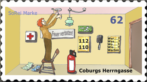 Cartoon: Briefmarke Coburg 5 (medium) by SoRei tagged coburg,herrngasse,briefmarke,insider,regional