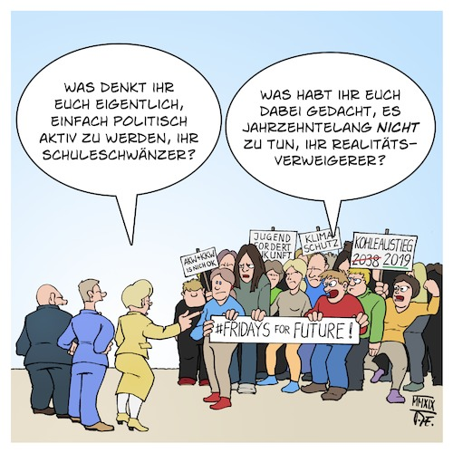 Cartoon: FridaysForFuture (medium) by Timo Essner tagged klima,klimawandel,umwelt,umweltschutz,kohleausstieg,jugend,klimamärsche,march,for,climate,kohlekommission,klimaziele,fridays,future,fridaysforfuture,cartoon,timo,essner,klima,klimawandel,umwelt,umweltschutz,kohleausstieg,jugend,klimamärsche,march,for,climate,kohlekommission,klimaziele,fridays,future,fridaysforfuture,cartoon,timo,essner