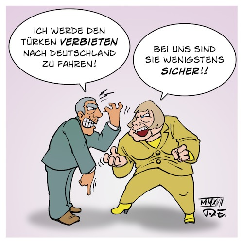 Cartoon: Reisewarnung (medium) by Timo Essner tagged angela,merkel,recep,tayyip,erdogan,deutschland,türkei,eu,reisewarnung,cartoon,timo,essner,angela,merkel,recep,tayyip,erdogan,deutschland,türkei,eu,reisewarnung,cartoon,timo,essner
