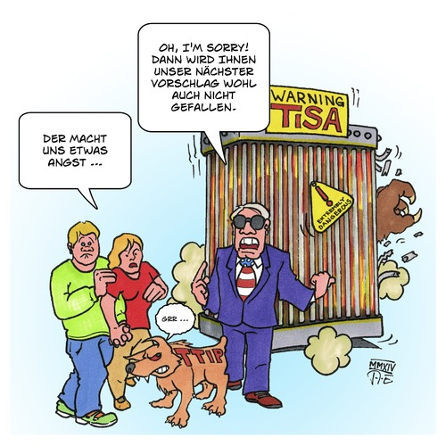 Cartoon: TiSA - das nächste Monster (medium) by Timo Essner tagged tisa,ttip,freihandelsabkommen,free,trade,agreement,tisa,ttip,freihandelsabkommen,free,trade,agreement