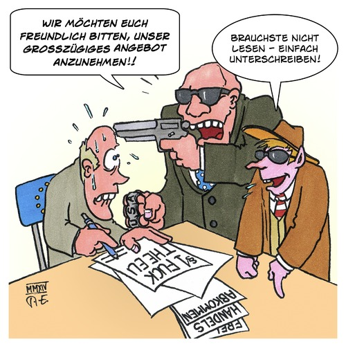 Cartoon: TTIP (medium) by Timo Essner tagged ttip,tisa,ceta,eu,usa,freihandelsabkommen,free,trade,agreement,vertrag,knebelvertrag,transparenz,mafiamethoden,mafia,ttip,tisa,ceta,eu,usa,freihandelsabkommen,free,trade,agreement,vertrag,knebelvertrag,transparenz,mafiamethoden,mafia