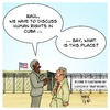 Cartoon: Cuba Human Rights (small) by Timo Essner tagged barack,obama,raul,castro,cuba,usa,visit,historic,speech,human,rights,guantanamo,bay,terrorists,democracy