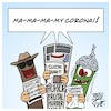 Cartoon: My Corona (small) by Timo Essner tagged corona,virus,pandemic,disease,china,asia,europe,usa,australia,afrika,panic,cui,bono,security,intelligence,media,clickbait,conspiracy,theories,nuts,cartoon,timo,essner
