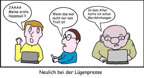 Cartoon: Neulich bei der Lügenpresse (medium) by Lev tagged presse,internet