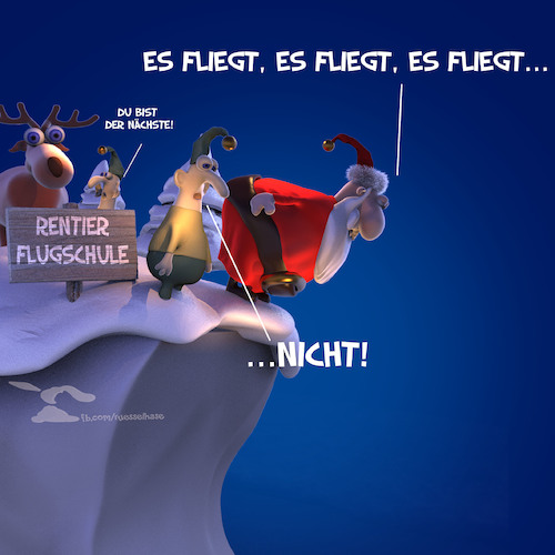 Cartoon: Flugschule (medium) by Rüsselhase tagged rentier,reindeer,weihnachten,christmas