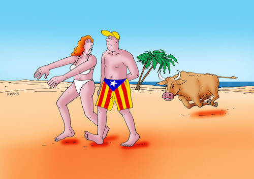 Cartoon: catalantoro (medium) by kotrha tagged independence,referendum,catalonia,spain,europe,euro,peace