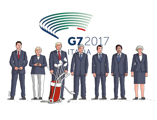 Cartoon: g7italy (medium) by kotrha tagged g7,meeting,italy,2017,trump,merkel,macron,may,world,peace,climate