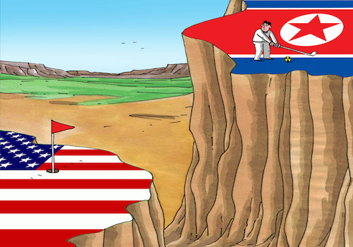 Cartoon: kmgolf (medium) by kotrha tagged kim,nord,korea,nuclear,war,usa,trump,world