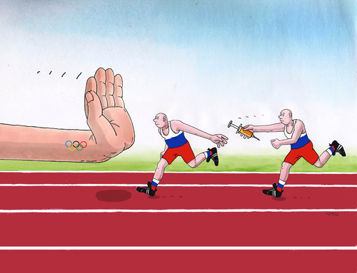 Cartoon: russtop (medium) by kotrha tagged russian,athletes,doping,and,the,olympics