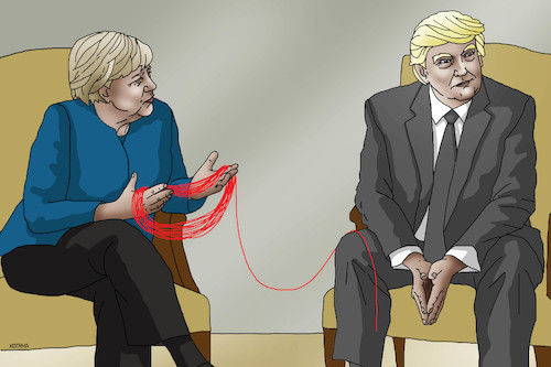 Cartoon: trumpklbko (medium) by kotrha tagged angela,merkel,donald,trump,usa,germany,dollar,euro