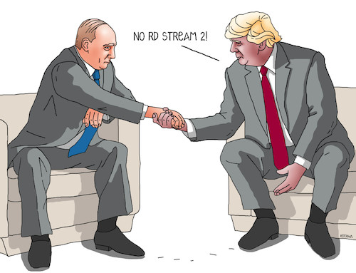 Cartoon: trumpnord (medium) by kotrha tagged gas,nord,stream,putin,trump,russia,usa,germany,sanctions