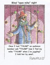 Cartoon: blind juggler finds microphone (small) by armadillo tagged comedy,open,mike,juggling,clow,suit