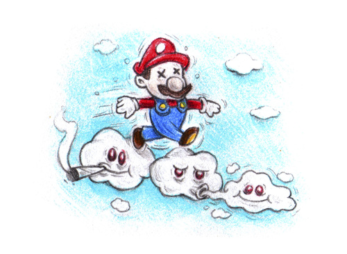 Cartoon: Mario skywalker (medium) by Trippy Toons tagged super,mario,trippy,marihu,weed,cannabis,stoner,kiffer,ganja,video,game,cloud,clouds,wolke,wolken,sky,himmel