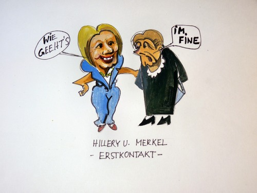 Cartoon: Erstkontakt Hillary - Merkel (medium) by Steffi und Siggi tagged wahlkampf,usa,merkel,hillary,clinton