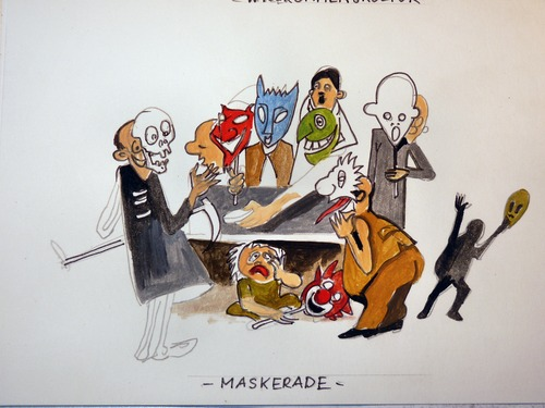 Cartoon: Maskerade (medium) by Steffi und Siggi tagged politik,immigration