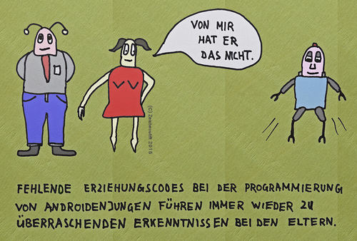 Cartoon: Fehlende Programmierung (medium) by zeichenstift tagged androids,robots,family,androiden,familie