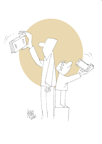 Cartoon: selfie (medium) by kotbas tagged selfie,generation,new,book