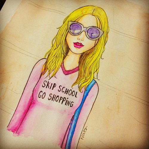 Cartoon: skip school go shopping (medium) by naths tagged wildfox,couture,pink,model,blonde,girl,watercolor