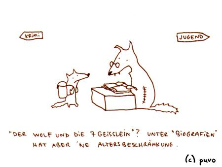 Cartoon: Biographie. (medium) by puvo tagged wolf,märchen,bibliothek,biografie,fairy,tale,library,biography