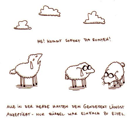 Cartoon: Gendefekt. (medium) by puvo tagged schaf,brille,kurzsichtig,wolke,herde,gen,genetik,sheep,cloud,drove,gene,genetics,glasses,myopic