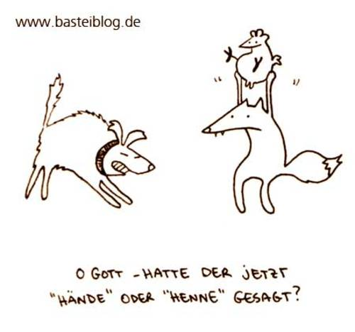 Cartoon: Henne hoch. (medium) by puvo tagged henne,hen,hände,hands,fox,fuchs,hund,dog