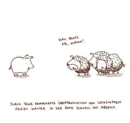 Cartoon: Lockstoffe (medium) by puvo tagged wildschwein,lockstoff,pheromone,pheromon,schwein,locken,geruch,pig,attractand,wild,boar,keiler,horde,rotte