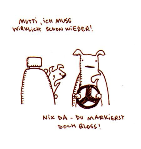 Cartoon: Markiert. (medium) by puvo tagged dog,hund,pinkeln,pee,markieren,mark,auto,car,reise,trip,pause,stop,break