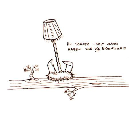 Cartoon: Midsommar. (medium) by puvo tagged lampe,vogel,bird,lamp,nest