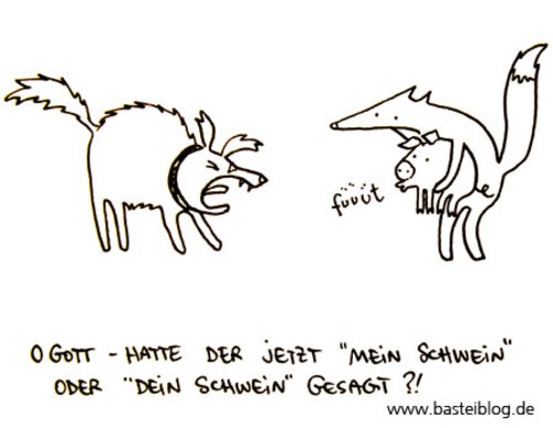 Cartoon: Schwein pfeift. (medium) by puvo tagged dog,hund,fox,fuchs,whistle,pfeifen,pig,schwein