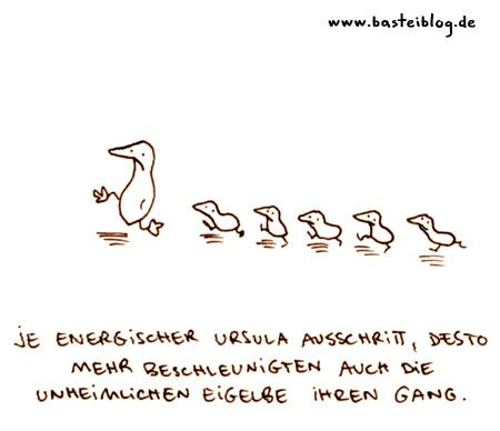 Cartoon: Unheimlich. (medium) by puvo tagged ente,duck,küken,biddy,unheimlich,weird,eigelb,yolk