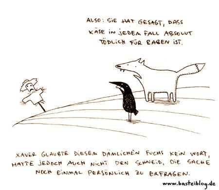 Cartoon: Vogelscheuche. (medium) by puvo tagged fuchs,rabe,käse,vogelscheuche,fox,raven,cheese,scarecrow,crow