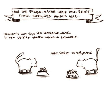 Cartoon: Zenit. (medium) by puvo tagged sheba,werbung,katze,cat,advertising,petersilie,futter,parsley,food,success,erfolg