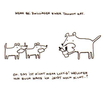 Cartoon: Zwillinge. (medium) by puvo tagged twin,zwilling,zähne,putzen,brush,theeth,hund,dog,tollwut,rabies