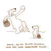 Cartoon: Shakespeare. (small) by puvo tagged shakespeare,theatre,theater,bär,bear,hamlet,bovist,mushroom,pilz,vater,sohn,eltern,kind,korb,basket,drama,dramatic,geste,gesture