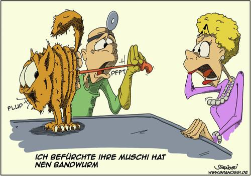 Cartoon: Bandwurm (medium) by Spanossi tagged katze,bandwurm,tierarzt,veterinär