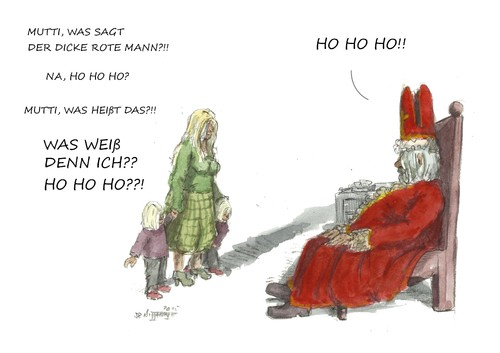 Cartoon: HO HO HO (medium) by JORI tagged weihnachtsmann,nikolaus,hohoho,kinder,kindermund,niggemeyer,joricartoon,cartoon,weihnachten,rituale,feste,hinterfragen,fragen,kultur,amerika,europa,ho