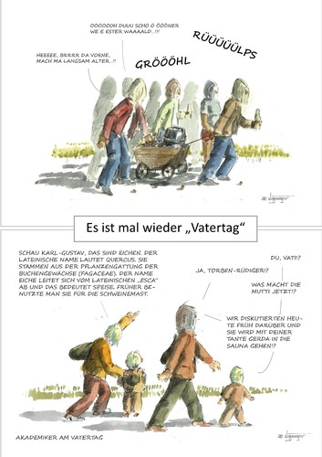 Cartoon: Vatertag Männertag Herrentag (medium) by JORI tagged saufen,benehmen,laut,gröhlen,bier,ritual,männertag,herrentag,vatertag,mann,eigenartig,spezial,niggemeyer,joricartoon,cartoon