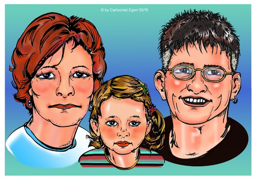 Cartoon: Familienportraits (medium) by Egon58 tagged family,portrait,kind