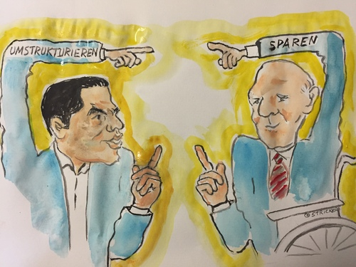 Cartoon: Schäuble-Tsipras Verständigung (medium) by CatPal tagged griechenlandkrise,schäuble,tsipras
