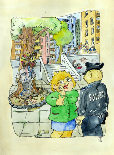 Cartoon: Verdreckter Ermittler (medium) by thomasH tagged ermittler,ermittlung,polizei,verdeckt,verdreckt