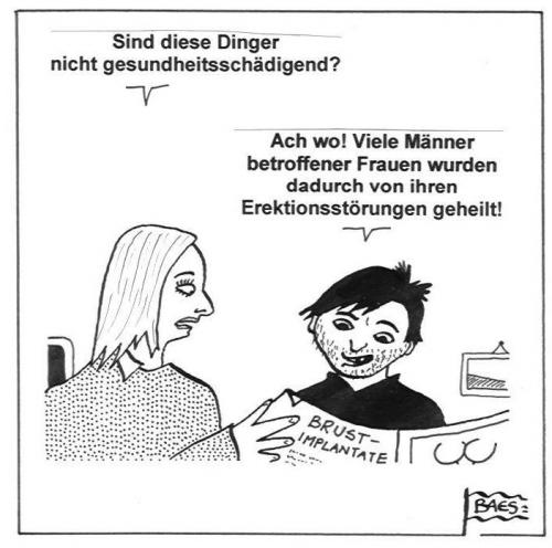 Cartoon: Brustimplantate (medium) by BAES tagged paar,pärchen,beziehung,liebe,brust,busen,erektionsstörung,brustvergrößerung,schönheitsoperation,mann,frau,erotik