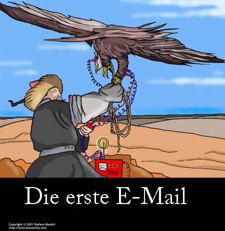 Cartoon: Die Geschichte der EMail (medium) by perugino tagged email,elektronische,post,internet