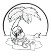Cartoon: Passed out in Paradise (small) by Sarieka tagged drunk,passed,out,rum,paradise,shark,dead