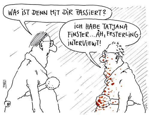 Cartoon: berufsrisiko (medium) by Andreas Prüstel tagged pegida,tatjana,festerling,interview,medien,rechtsradikal,cartoon,karikatur,andreas,pruestel,pegida,tatjana,festerling,interview,medien,rechtsradikal,cartoon,karikatur,andreas,pruestel