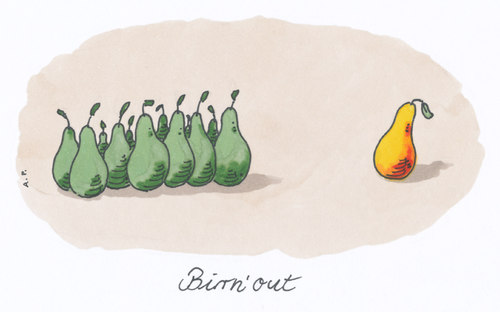 Cartoon: birnout (medium) by Andreas Prüstel tagged burnoutsyndrom,burnout syndrom,arbeit,stress,burnout,syndrom
