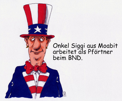 Cartoon: BND-Job (medium) by Andreas Prüstel tagged bnd,nsa,zusammenarbeit,datenweitergabe,ausspionierung,usa,deutschland,onkel,sam,siggi,berlin,moabit,pförtner,cartoon,karikatur,andreas,pruestel,bnd,nsa,zusammenarbeit,datenweitergabe,ausspionierung,usa,deutschland,onkel,sam,siggi,berlin,moabit,pförtner,cartoon,karikatur,andreas,pruestel