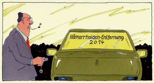 Cartoon: entfernung (medium) by Andreas Prüstel tagged hämorrhoiden,hämorrhoidenentfernung,operation,autoaufkleber,cartoon,karikatur,andreas,pruestel,hämorrhoiden,hämorrhoidenentfernung,operation,autoaufkleber,cartoon,karikatur,andreas,pruestel